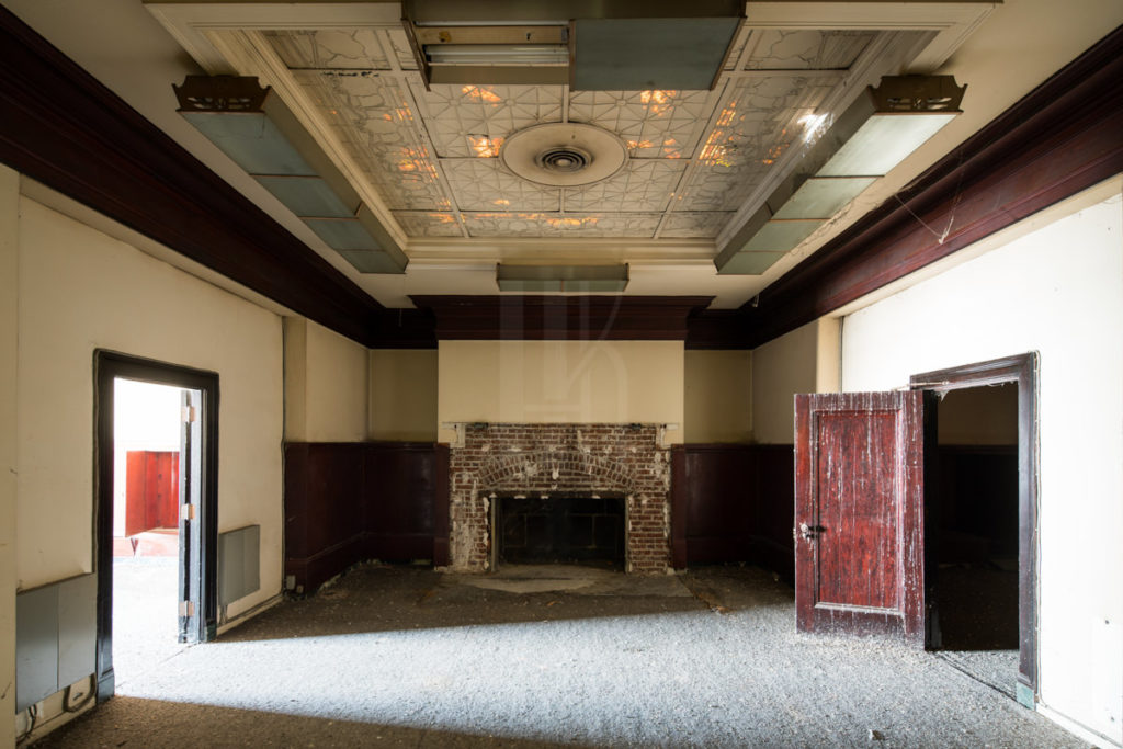 Fireplaces are a rare sight in historic office buildings in Downtown LA.